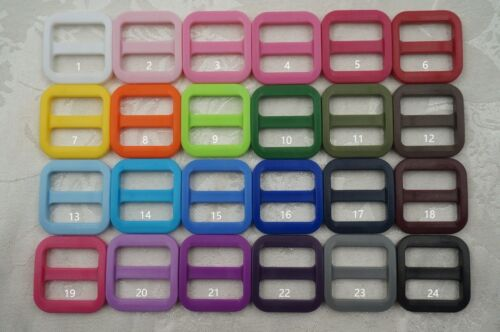 25x 20mm Wide Mouth Triglides Webbing Slides 24 colors