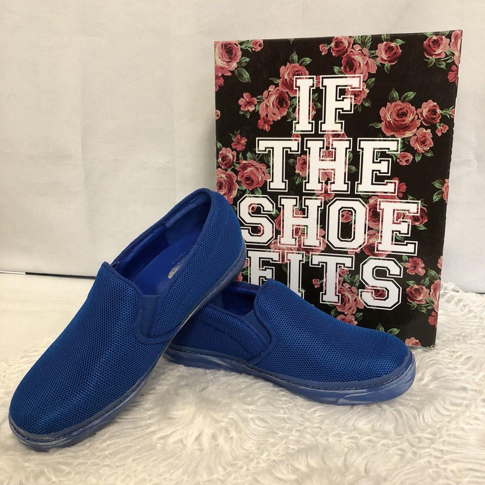110 NEW Jeffrey Campbell X FREE PEOPLE Slip On Eltan Sneakers Size 8 Mesh bluee