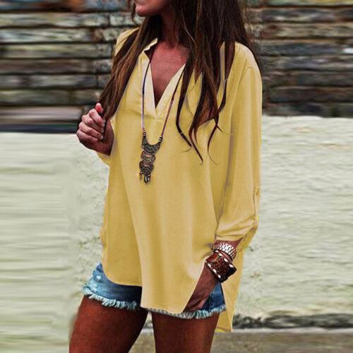 Women Casual V Neck Shirt Tops Loose Asymmetrical Split Hem Blouse High Low Tops