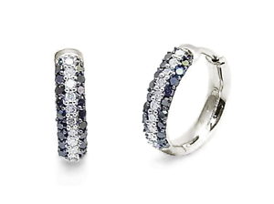 10K-White-Gold-Black-amp-White-Diamond-Hoop-Earrings-15mm-Round-Hoops-52ct