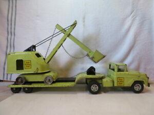 Vintage Green Tonka State Hi Way Dept Truck Cab, Lowboy and Shovel/Bucket truck