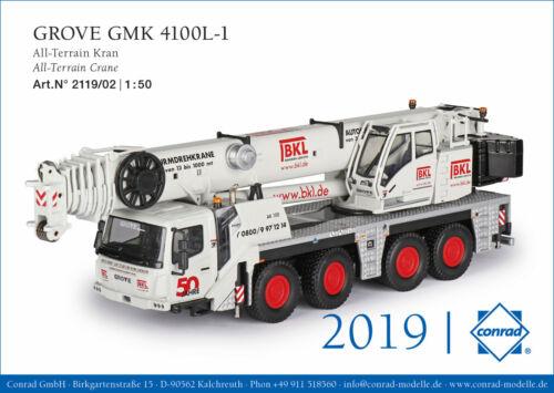 Conrad 2119//02 BKL GROVE GMK 4100L-1 All-Terrain Kran NEU OVP