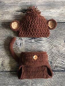 Newborn Baby Boy Brown Monkey Hat And Diaper Cover Crochet Photo