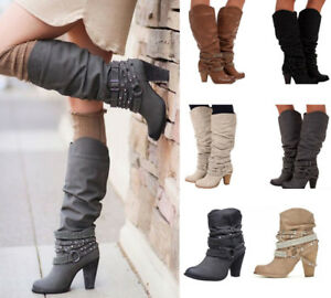 New-Womens-Buckle-Slouch-Mid-Calf-Boots-Ladies-Block-High-Heel-Boots-Shoes-Party