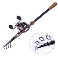 Telescopic Travel Baitcasting Spinning Fishing Rod And Reel Combos Set Pole Kits