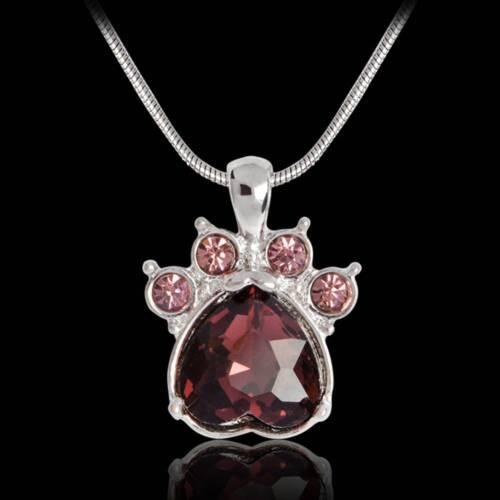 1Pc 12Colors Paw Birthstone Pendant Necklace Crystal Claw 12 Months Jewelry Gift