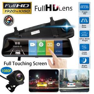 Dual-Lens-10-039-039-HD-1080P-Video-Recorder-Rearview-Mirror-Car-Dash-Cam-Camera-DVR