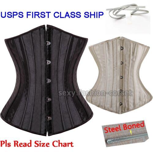 Full Spiral Steel Boned Tight Lacing Underbust Corset Waist Training Plus Size Z