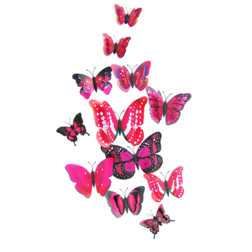 12Pcs 3D Butterfly Wall Decal Removable Sticker Kids Room Nursery Decoration