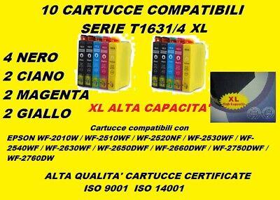KIT DI 10 CARTUCCE COMPATIBILI STAMPANTE EPSN WF-2510WF CERTIFICATE ISO 9001