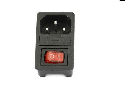 10a 250v Iec320 C14 3 Pin fusionadas Power Socket Conector Rocker Switch