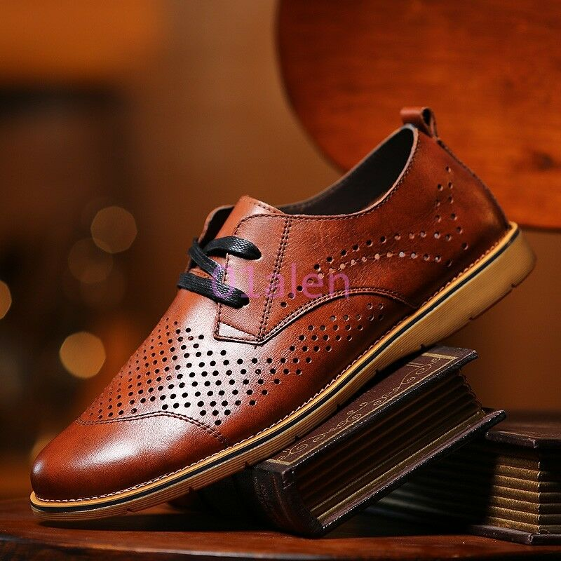 Fashion New Uomo Flat Oxfords Hollow Out Breathable Spring Pelle Vintage Scarpe