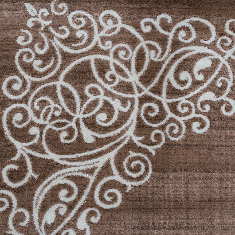 Marron Chocolat Tapis Floral Paillettes Motif De Moderne Salle De Motif Séjour Tapis Petit Large a7d670