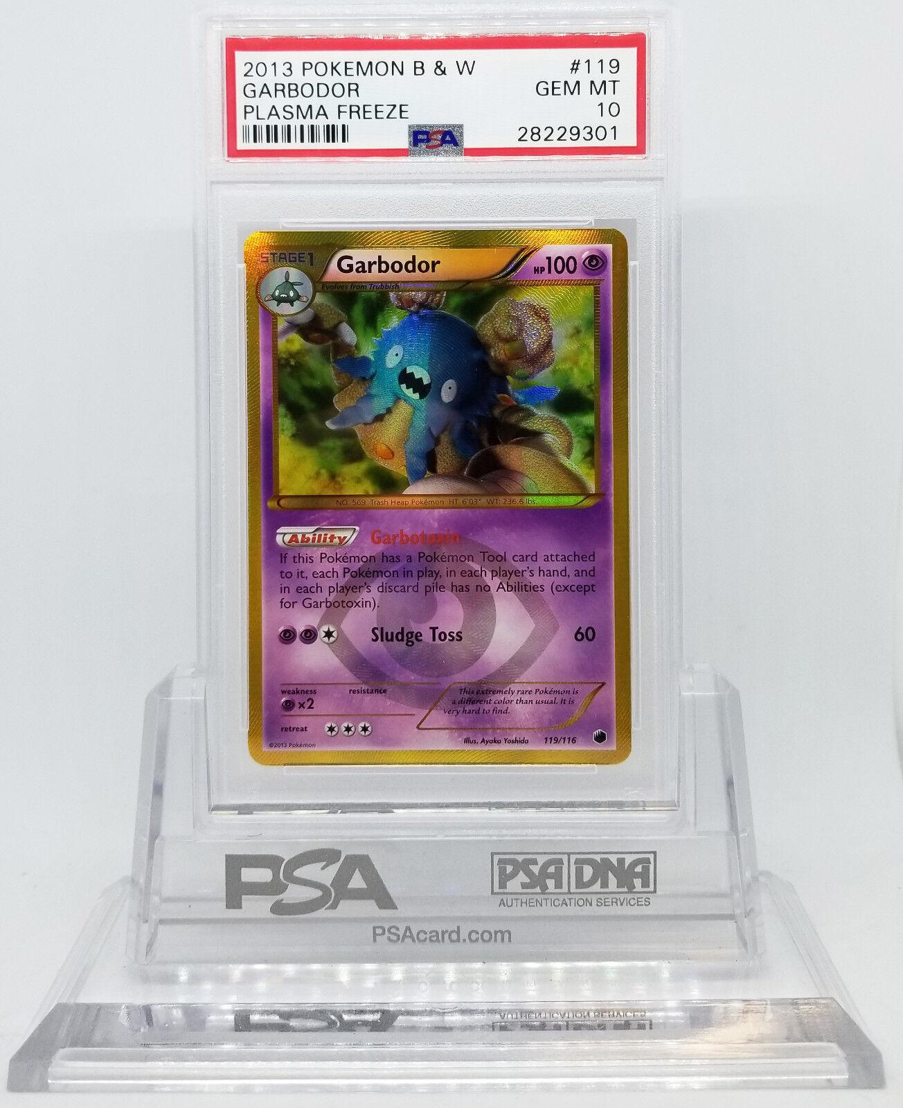 Pokemon Negro Y Blanco FREEZE GARBODOR 119 rara secreta PLASMA PROFESIONAL autenticador de deportes 10 Gema menta 28221