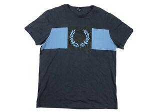 Fred-Perry-Men-s-Blue-Striped-Big-Logo-Crewneck-T-Shirt-Size-Large