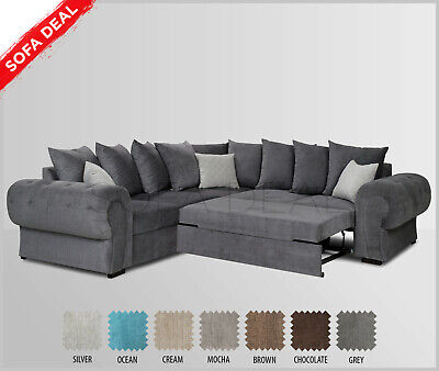 Large Fabric Corner Sofa Bed With Storage Silver Grey Brown Cream Ebay