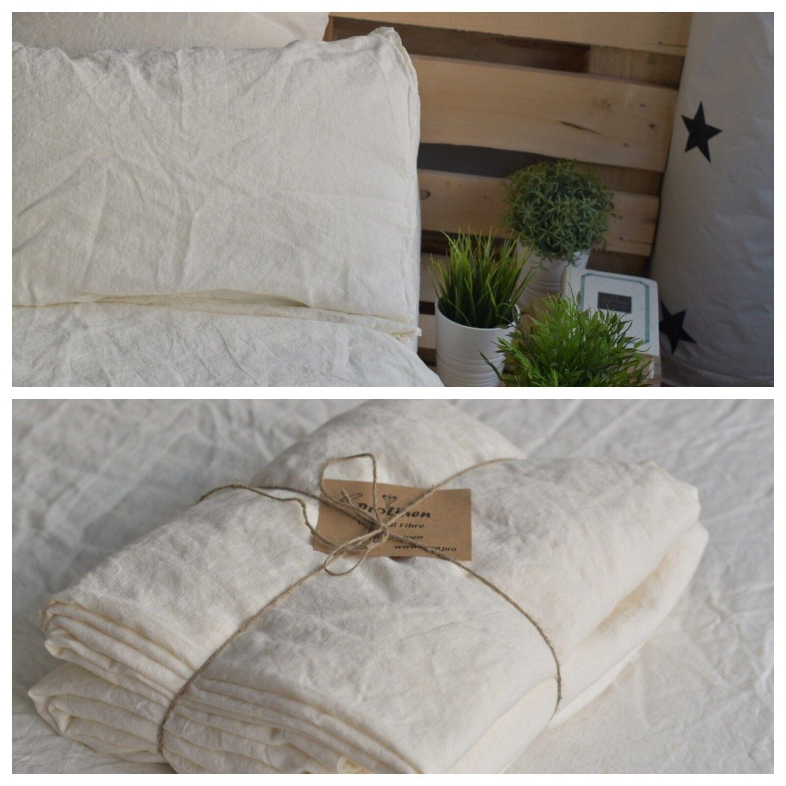 LINEN SHEET SET in Antique Weiß Farbe Queen King Twin linen bedding set Luxury