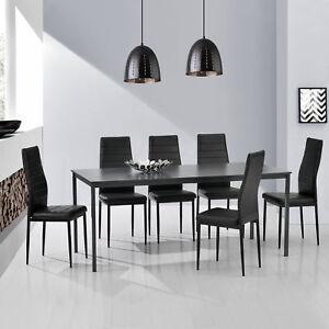 Mesa de Comedor + 6 Sillas Gris/Negro 160x80cm Mesa de Cocina Mesa ...