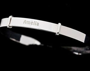 925-Sterling-Silver-Personalised-Guardian-Angel-Expanding-Bangle-11-letters