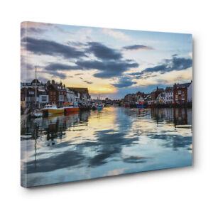 Original-unique-canvas-print-of-Weymouth-Harbour-Cloud-Reflections-in-Dorset
