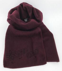 Burgundy-Fleece-Music-Notes-Winter-Scarf-Laser-Etched-Men-039-s-or-Women-039-s-Maroon