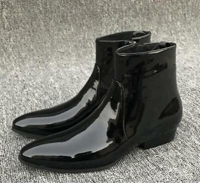 Mens Black Patent Leather Ankle Boots
