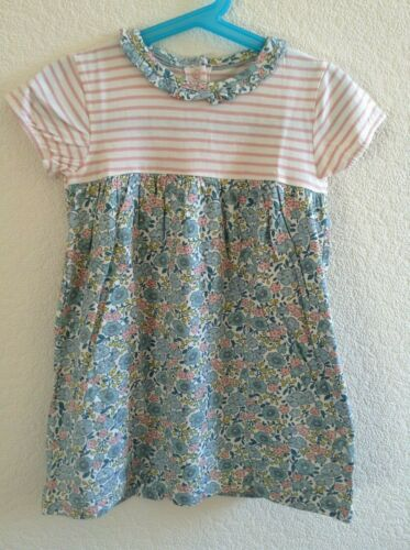 Nouveau Beau Ex Bébé Boden À Rayures//Floral Fatras Dress 0 To 4 ans