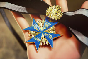 WWI-Germany-Blue-Max-Oak-Leaf-Edelweiss-Badge-Brave-Medal-Free-shipping