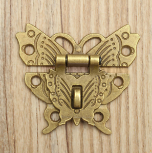 50*43mm Butterfly Design Antique Gold colour Hasp Latch Jewelry Wooden Box Lock