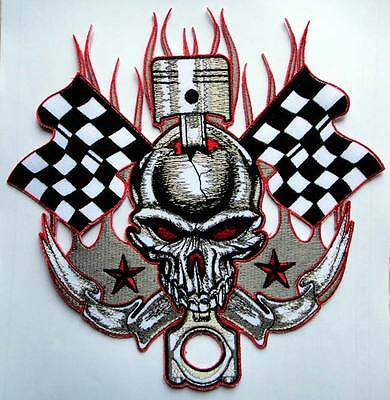 LARGE HUGE BIG SKULL KNOT CHECKERED FLAG MOTORCYCLE IRON ON PATCH Free Shipping