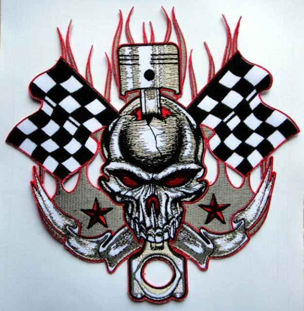 Large HUGE Big Skull Knot Checkered Flag Motorcycle Iron on Patch ... a82c2f4a7604