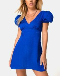 MOTEL-ROCKS-Elfy-Mini-Dress-in-Satin-Cheetah-Royal-Blue-Medium-M-MR54