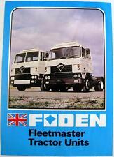 FODEN Fleetmaster Tractor Unit Original Commercial Sales Sheet c1978