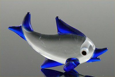 Flounder Miniature D Blue Figurine Fish Halibut glass approx 1.4 inches long