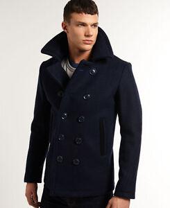 New Mens Superdry Bleecker Street Pea Coat Navy | eBay