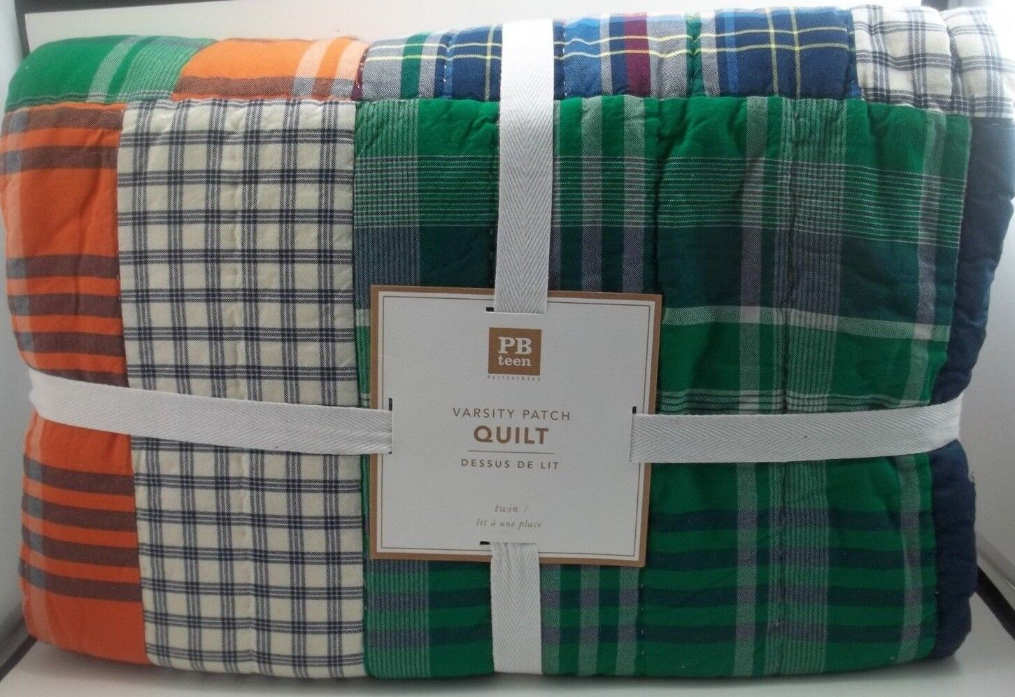 POTTERY BARN Teen Varsity Patch Patchwork multi Quilt Twin  758