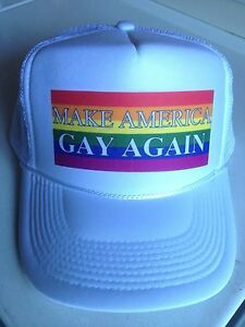 0d304c6f07 MAKE AMERICA GAY AGAIN HAT anti donald trump PRIDE LGBT rainbow ...