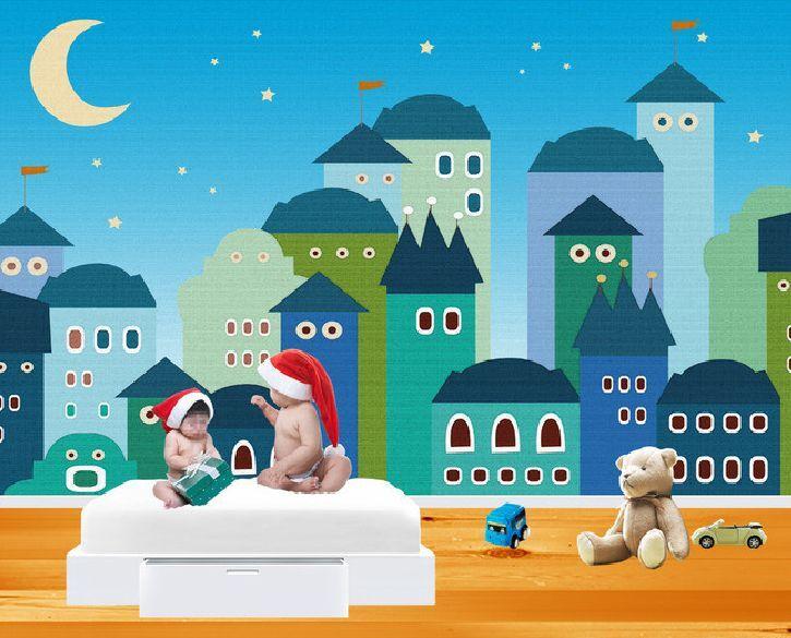 3D bluee Cartoon-Haus 356 Fototapeten Wandbild Fototapete BildTapete Familie