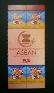 SJ-Malaysia-Joint-Issue-Of-ASEAN-Community-2015-Bird-Flag-stamp-title-MNH