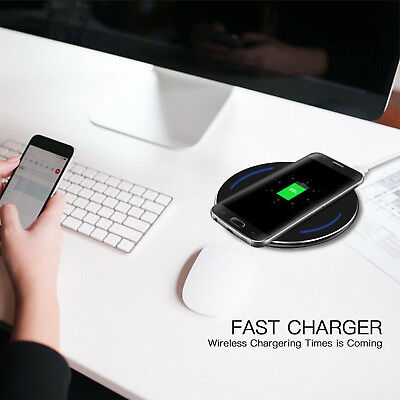 Fast Qi Wireless Charger Charging Pad for Samsung Galaxy Note 8 S8 S7 iPhone X 8