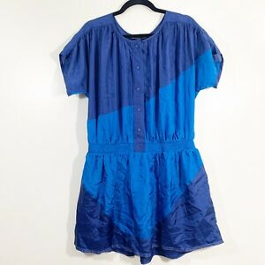 Marc-Jacobs-Size-S-Womens-Blue-Colorblock-Short-Sleeved-Silk-Blouson-Dress