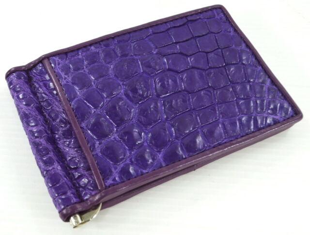 Crocodile Leather Men/'s Money Clip Belly Leather Wallet Black Color #WD2109