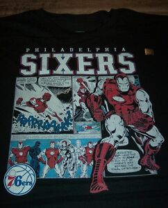 PHILADELPHIA-SIXERS-76ERS-NBA-AVENGERS-IRON-MAN-MARVEL-COMICS-T-Shirt-3XL-NEW