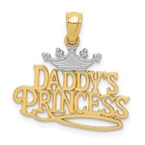 14K Deux-Tone Gold Daddy/'s Little Girl Charme Pendentif