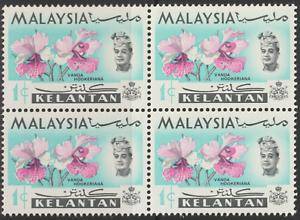 MALAYSIA KELANTAN 1965 ORCHIDS 1c B/4 MNH