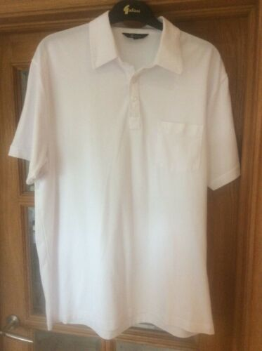 Men's Vintage GABICCI White Polo T shirt Size Large Lg Poly Cotton Breast Pocket