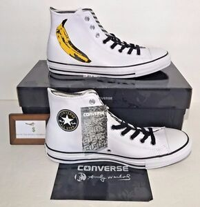 Converse-Mens-Size-8-Chuck-Taylor-All-Star-Hi-Andy-Warhol-Banana-Leather-New