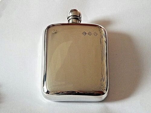 Sheffield Pewter Craft .4oz stamped  pewter hip flask with ball top.#FREE FUNNEL