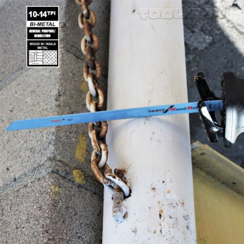 """Reciprocating Saw Blades Set 12/"""" 8-12 TPI 5 pcs for DeWalt /& Makita Cut Wood"""