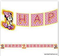 Disney Babies Minnie Party Supplier Banner Birthday Pink 1st Birthday Decoration